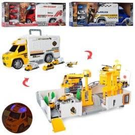 Машина-трансформер в виде гаража с машинками со звуком и светом 95577-21-22-23