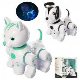 Интерактивная игрушка Животное кот или собака с музыкой и светом ездит 9882-83