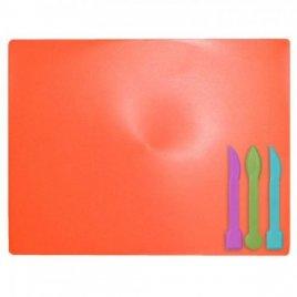 Доска для лепки и рисования большая + 3 стека коралловая
