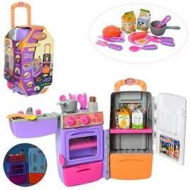 Детская кухня  3 в 1 в чемодане с холодильником мойкой и продуктами 9911