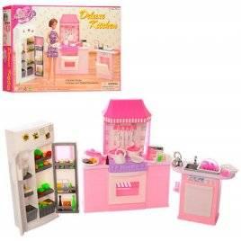 Кухня, холодильник, мойка + посуда для кукол 9986