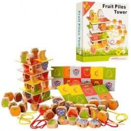 Деревянная шнуровка фрукты и ягоды 60 деталей A20