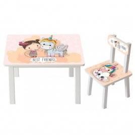 Детский стол и стул для творчества  Девочка и единорог BSM2K-18 Girl and unicorn