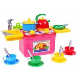"""Кухня детская с посудкой в чемодане с полочками """"Галинка-8"""" 2377 Технок, Украина"""
