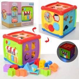 Музыкальная игрушка Куб - сортер с пианино, трещоткой, часами и зеркалом HE0520