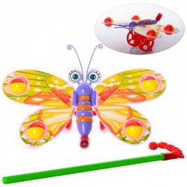 Каталка-бабочка на палочке W882-11 машет крыльями
