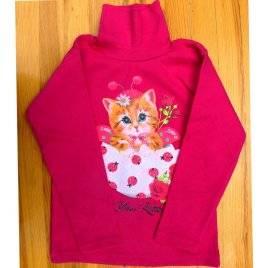 Гольфик детский для девочки с начесом Кошечка розовый 042018