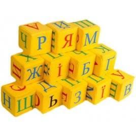 Кубики мягкие желтые Абетка украинский язык 12 штук Розумна играшка