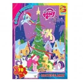 Пазл + постер для детей 5 лет 35\70\80 деталей My little Pony