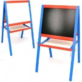 Детский двухсторонний мольберт деревянный сине-красный