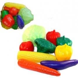 Набор пластиковых овощей в сетке ИП.18.004 Toys Plast, Украина 9 предметов большие