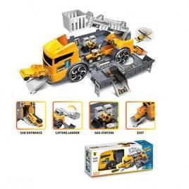 Машина-гараж трейлер с краном желтый с машинками P905-A