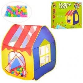 Палатка детская Домик с крышей + шарики 50 штук M 3757