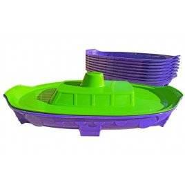 Песочница с крышкой - бассейн Корабль 03355 фиолетово-зеленая
