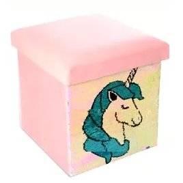 Пуф с пайетками Единорог 0003 розовый