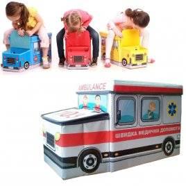 """Пуф детский для игрушек Автобус Скорая помощь или Полиция """"УкрДом"""", Украина"""