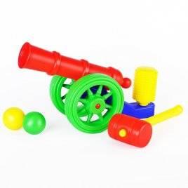 Пушка пластмассовая игрушка с молотком и шариками Toys Plast, Украина