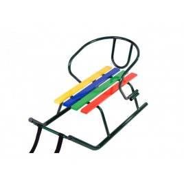 Санки детские металлические со спинкой Малыш. Радуга