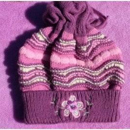 Шапка для девочки осенняя фиолетовая 120416