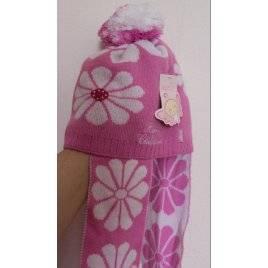 Шапка детская розовая с бубоном 049