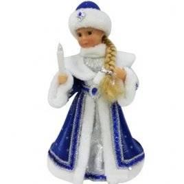 Снегурочка игрушка в голубом с фонариком и музыкальная танцует большая 11698