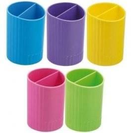 Стакан - подставка для ручек двойной пластиковый 4 цвета