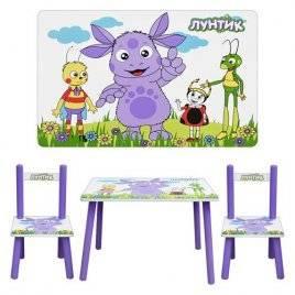 """Детский стол и два стульчика деревянные зеленые """"Лунтик"""" 1432"""