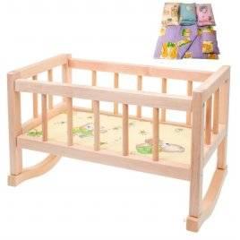 Кроватка деревянная игрушечная + постель ВП-002/1 Винни Пух