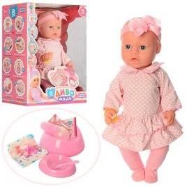 Пупс Baby Born в розовом платье в горошек с бантом или цветок BL020-1899Q аналог