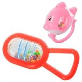Погремушка с шариками красная и розовая Z97-Z114 набор 2 штуки