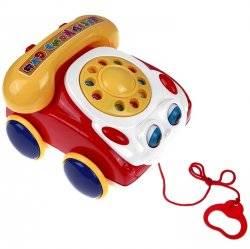 Каталка  машинка-телефон с глазками на веревочке 0316