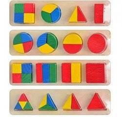 Геометрика дроби - рамка с вкладышами деревянная 0409