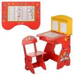 """Парта растишка W 077 с магнитной доской и откидной столешницей """"Bambi"""" красно-желтая."""