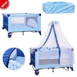 """Манеж-кровать качалка с балдахином M 0823 детский голубой двухуровневый на змейке """"Bambi"""""""