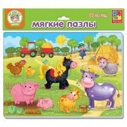Мягкие пазлы Maxi А4 Зоопарк или Ферма 24 элемента VT1102