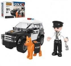Конструктор Машинка полиция+ фигурки 117 деталей KB 117
