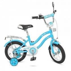 Велосипед детский Star 12д. голубой с дополнительными колесами L1294 PROF1
