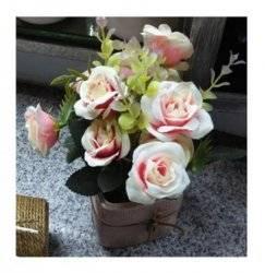 Цветы белые розы в горшке T15-17