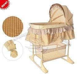 Кровать детская M 1542 качалка, колеса, навес, корзина, бежевая