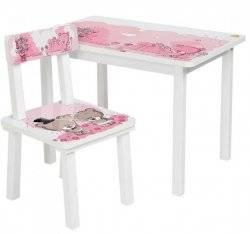 Детский стол и стул для творчества розовый медвежонок Тедди BSMK2-08