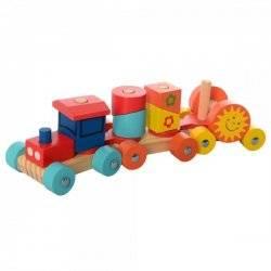 Деревянная игрушка Паровозик геометрика MD 2341
