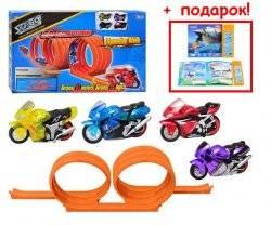 """Трек с мотоциклами """"Суперинерция"""" 4 мотоцикла 60108 IDOON+ подарок Книжка электронная!"""