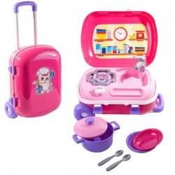 Кухня игровая в чемодане на колесах с набором посуды розовая 6061 ТехноК