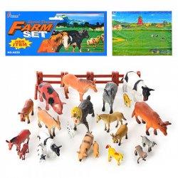 Животные домашние большие и малые резиновые 638 с заборчиком и игровым полем.