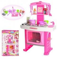 Кухня  детская  розовая музыкальная со световыми эффектами с часами 661-51