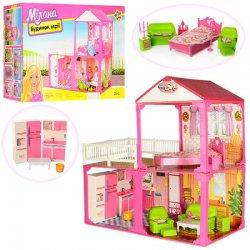 Домик для кукол Барби 2 этажа с мебелью и бытовой техникой Люкс 6982B