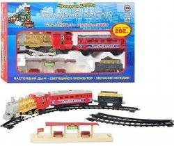 Железная дорога Голубой вагон игрушечная музыкальная с перроном 7013