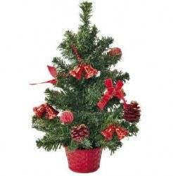 Елка новогодняя в вазоне Красная 35 см 8290
