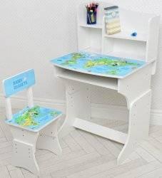 Парта детская со стулом Карта мира регулируемая высота 904-110
