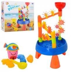 Столик песочница с водопадом+песочный набор 9904